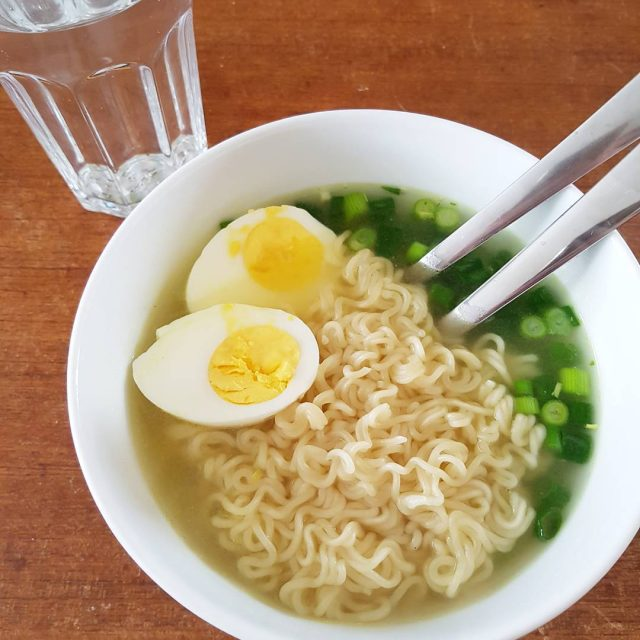 Todays lunch nudles with boiled egg and onion  easylunchhellip